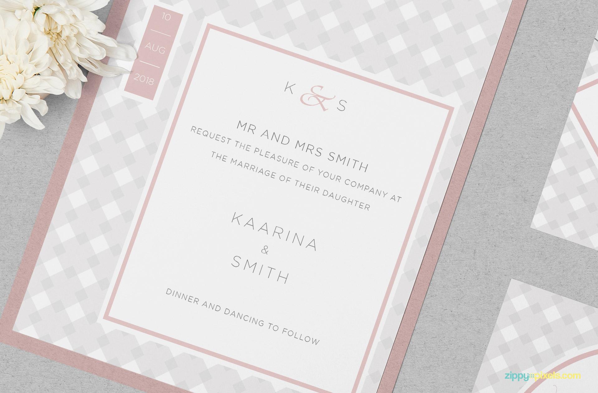 Beautiful wedding invitation card mockup.