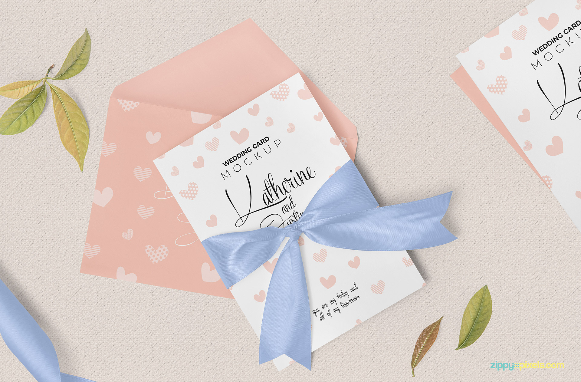 Wedding invitation mockup free PSD.