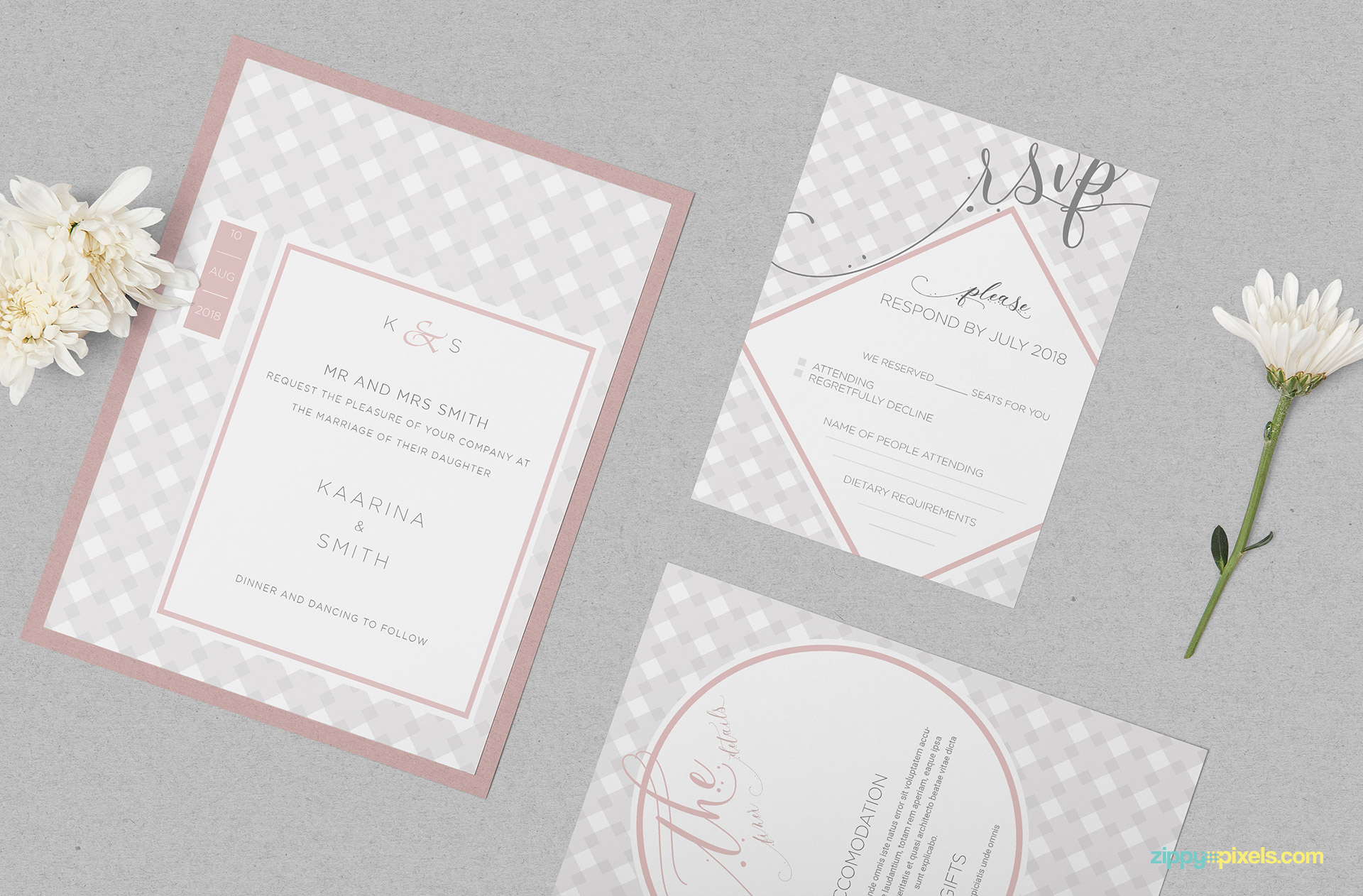 Gorgeous wedding invitation mockup PSD free.