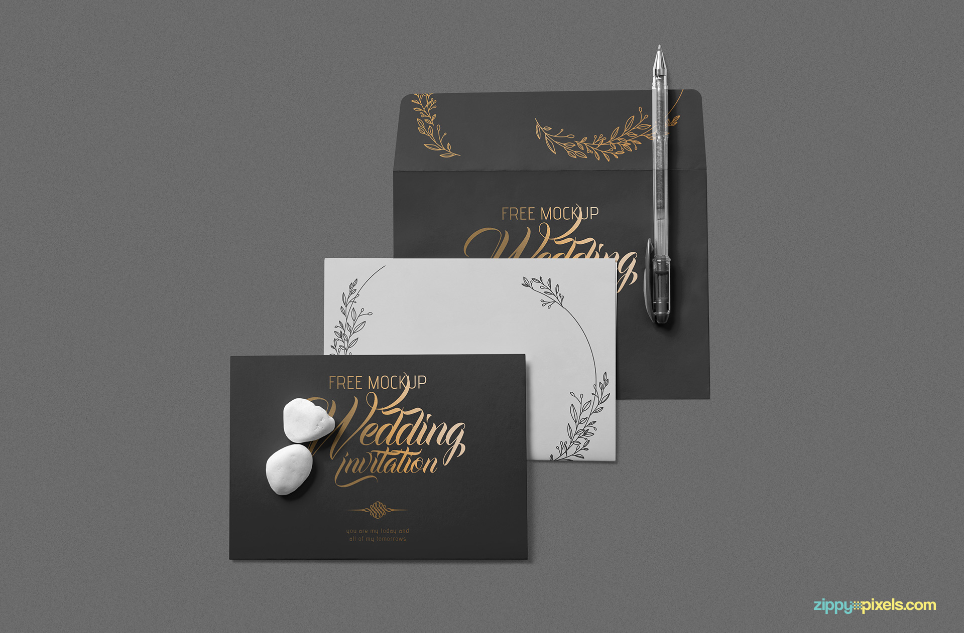 Free elegant wedding invitation mockup.