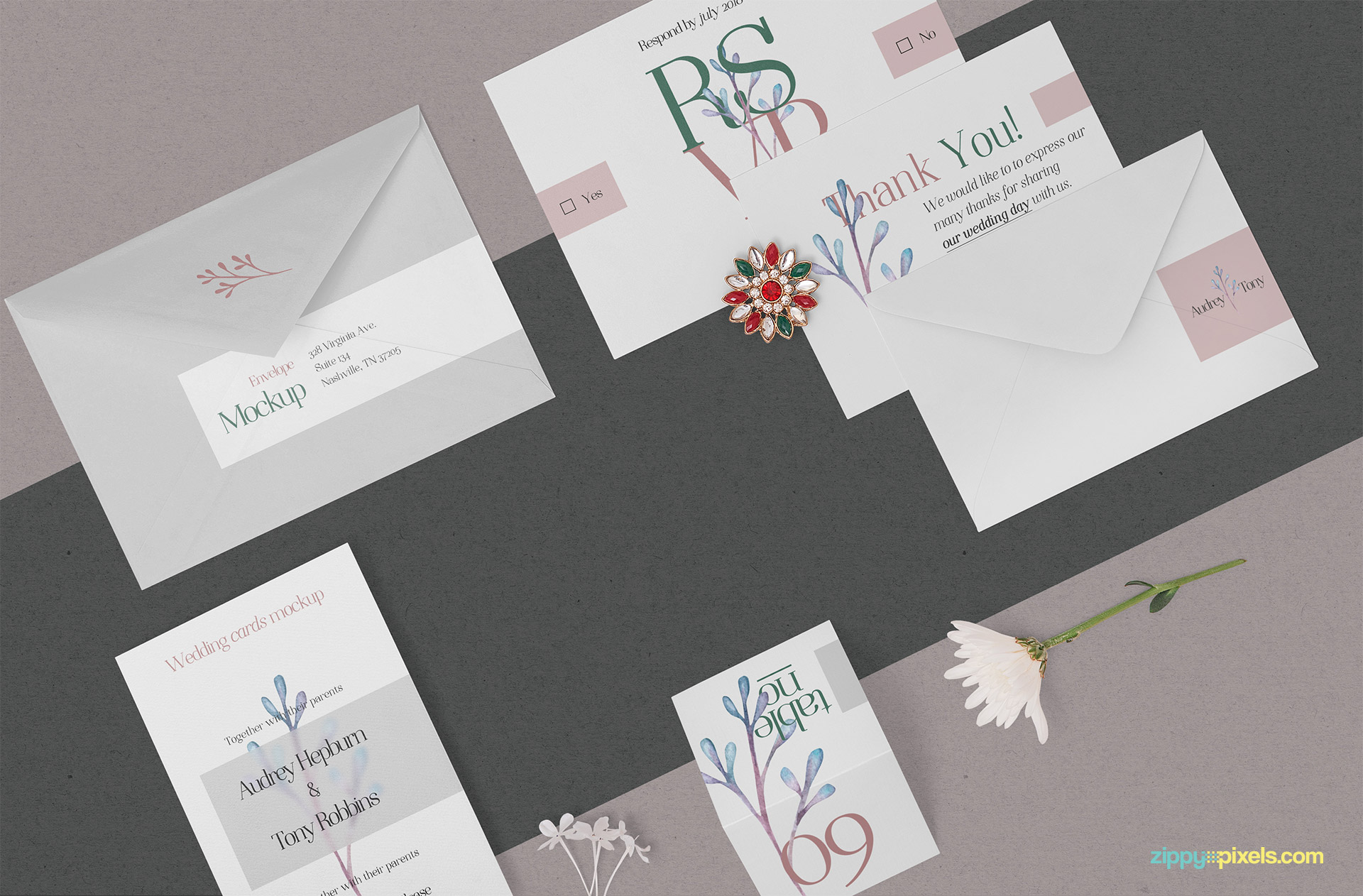Free elegant wedding stationery mockup.