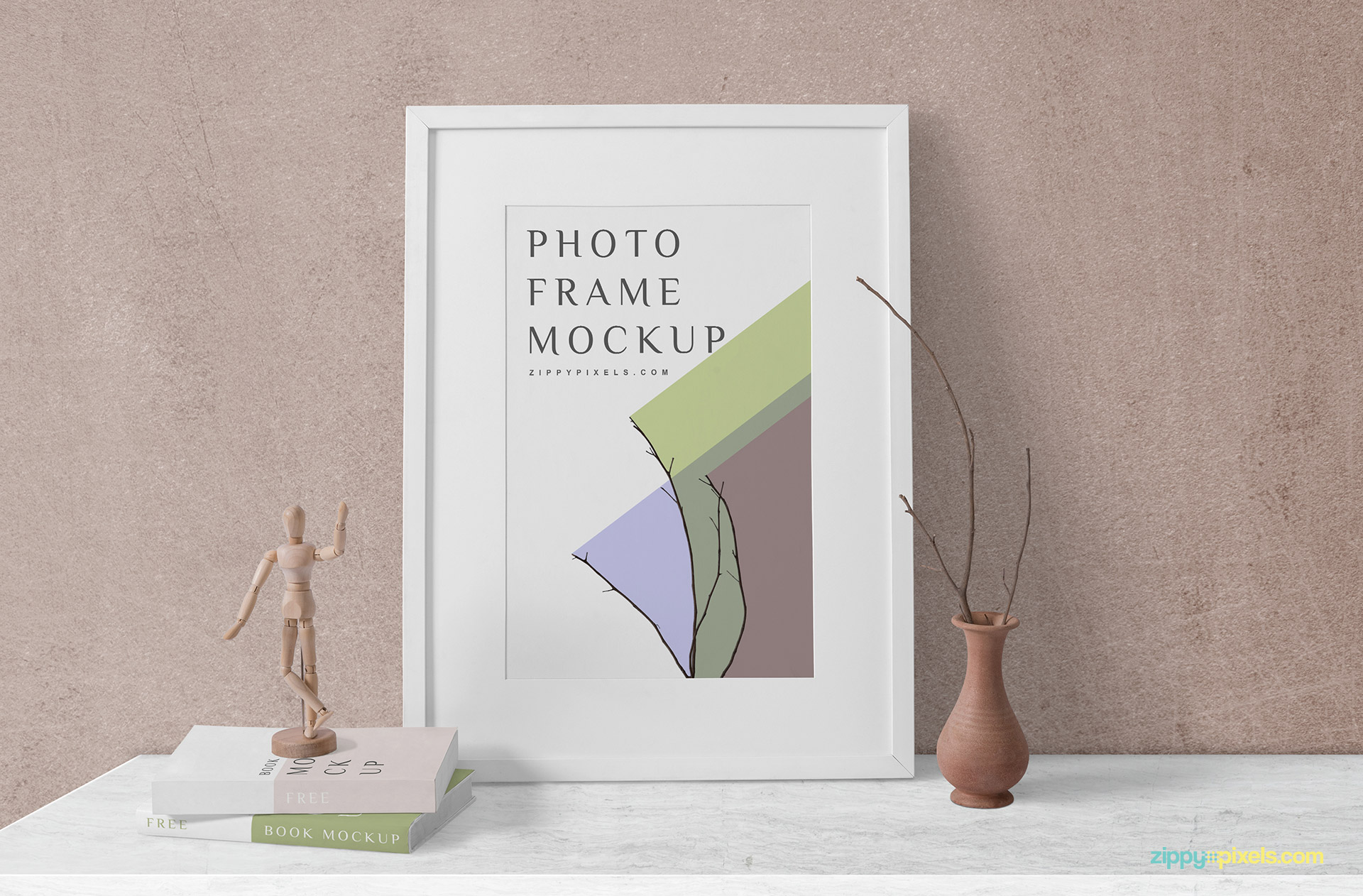 Wooden frame and book mockup for your design's presentation.