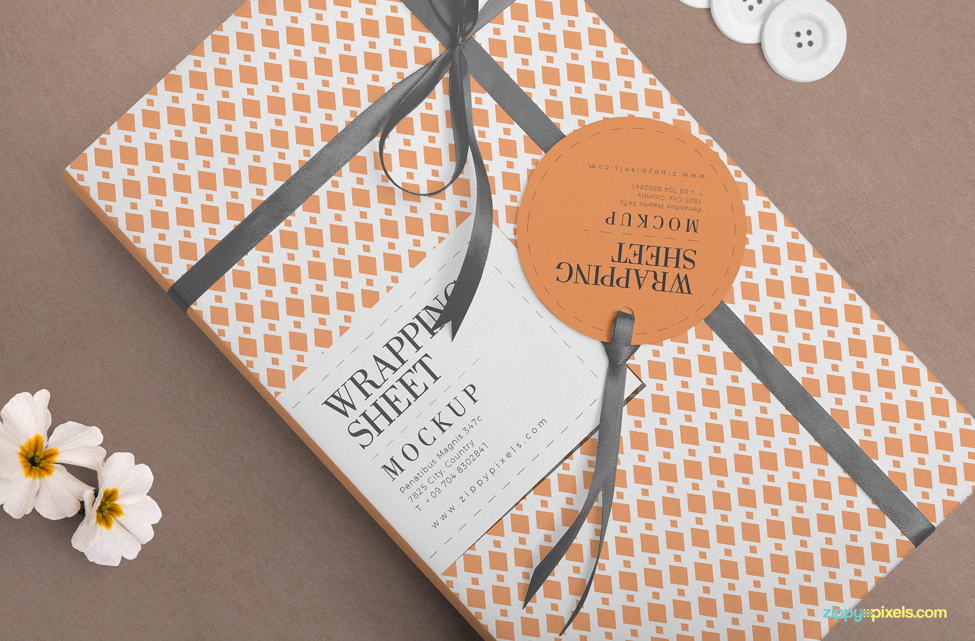 Free wrapping paper mockup PSD.