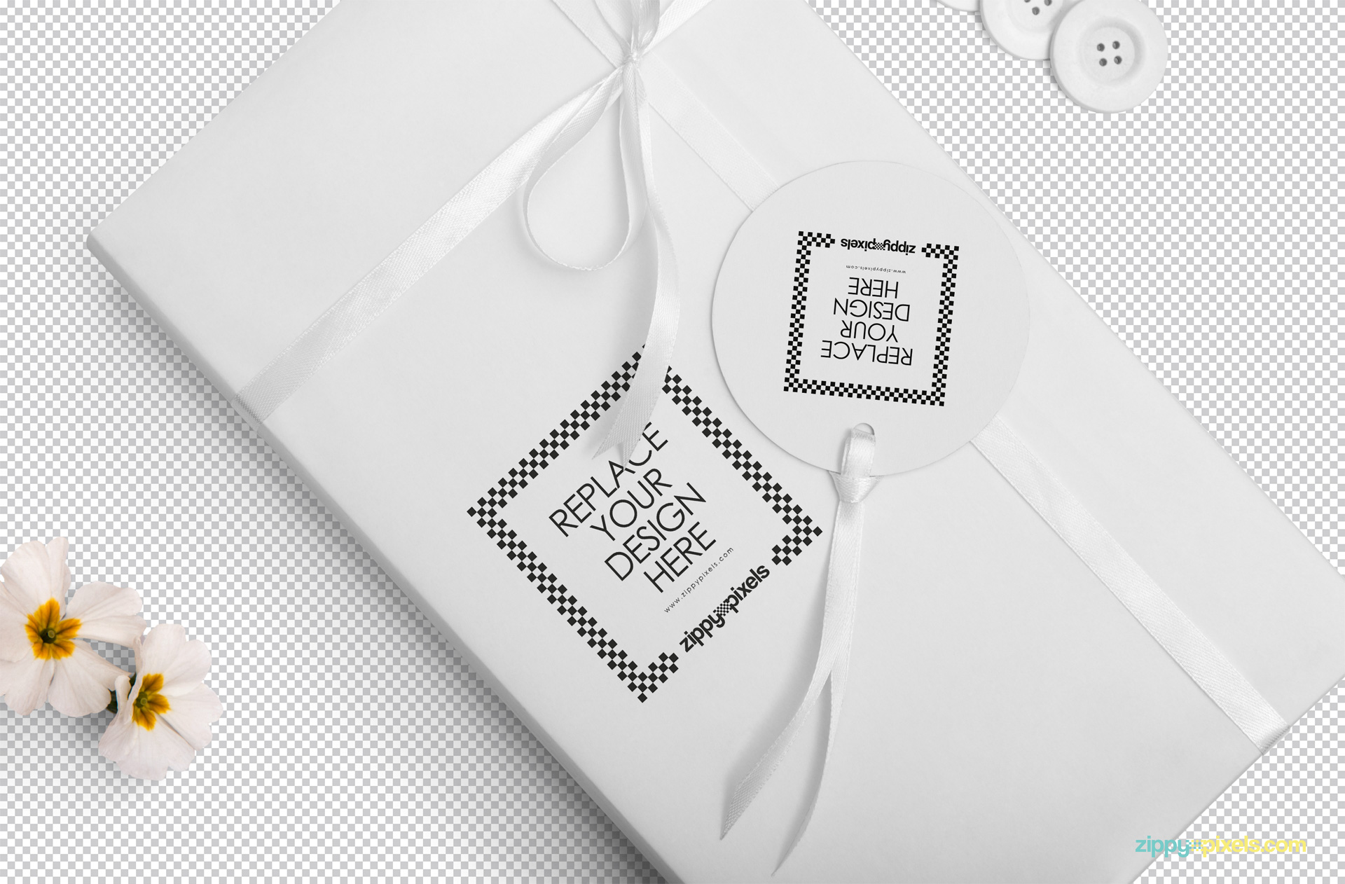 Use Photoshop to add your designs on this wrapping paper and tag mockup.