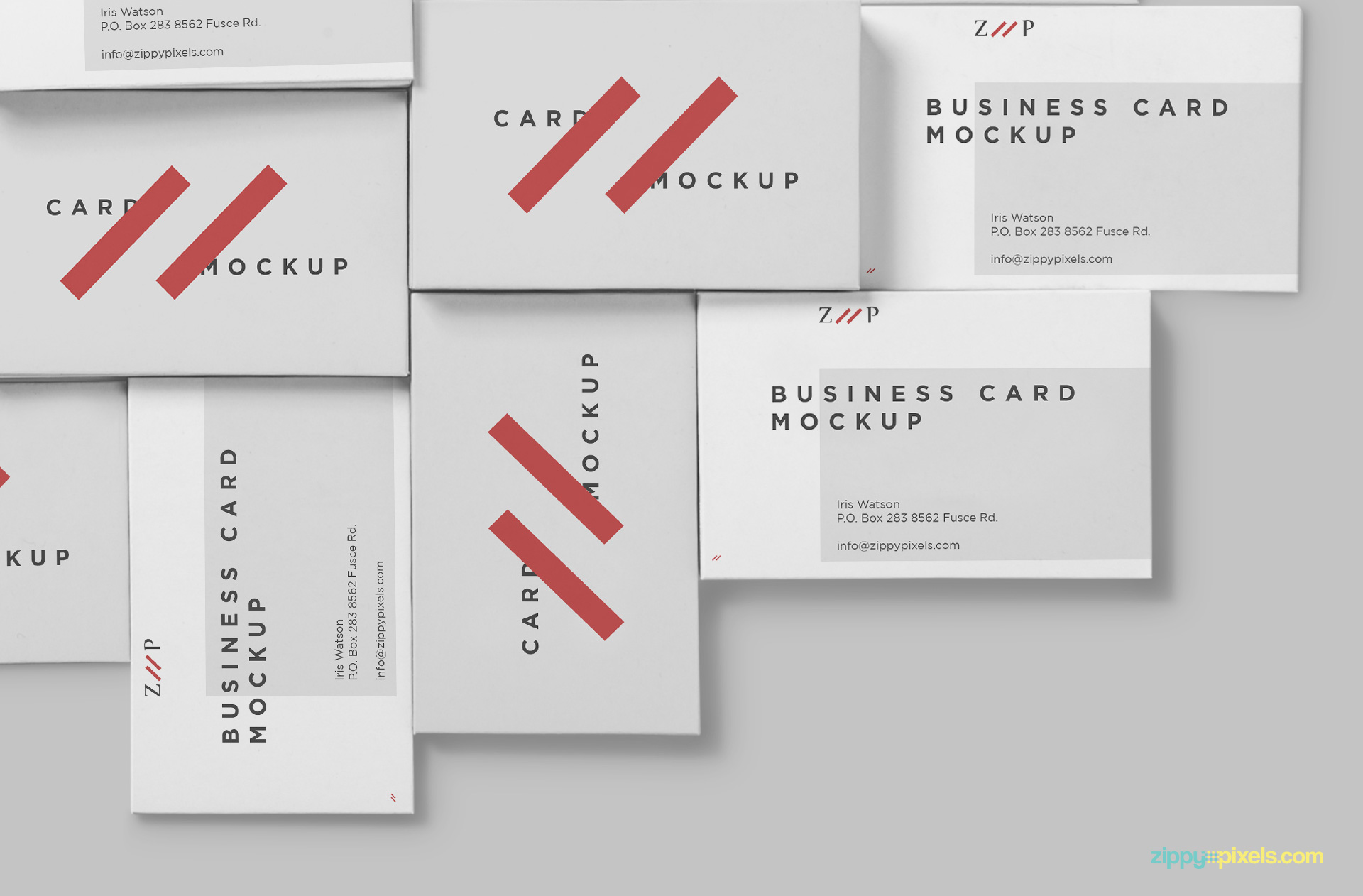 Business cards mockup from top view.