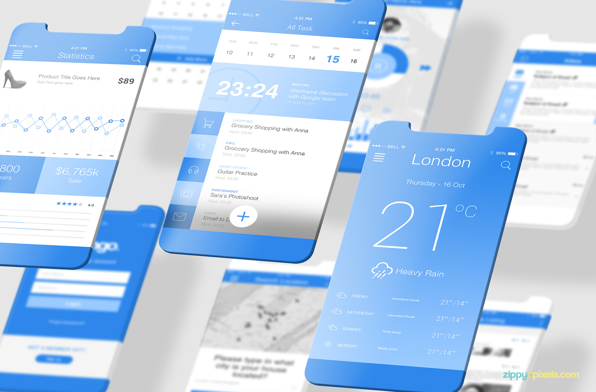 Free latest iOS app mockups.