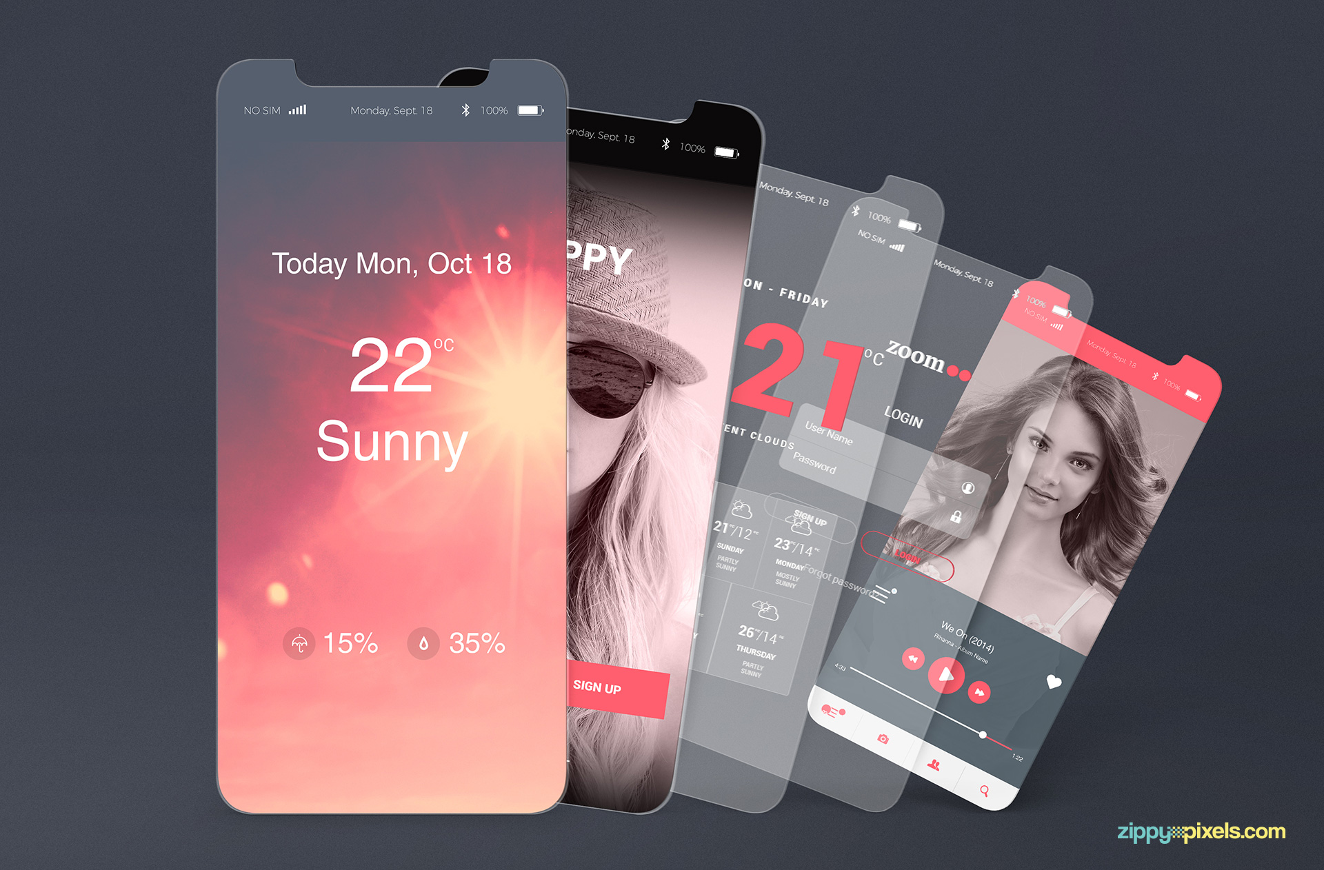 App presentation mockups for iPhone X.