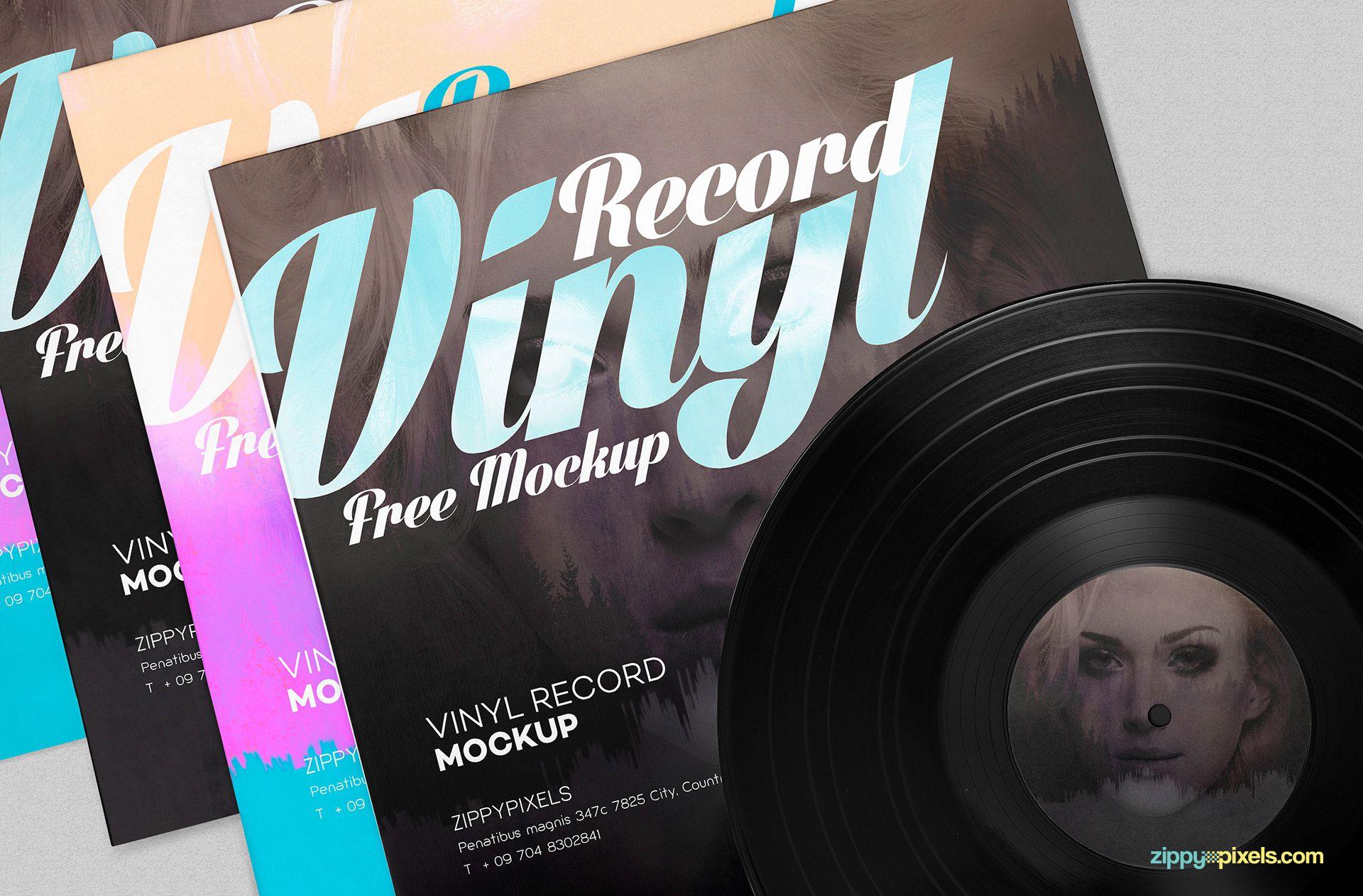 Free record album mockup.