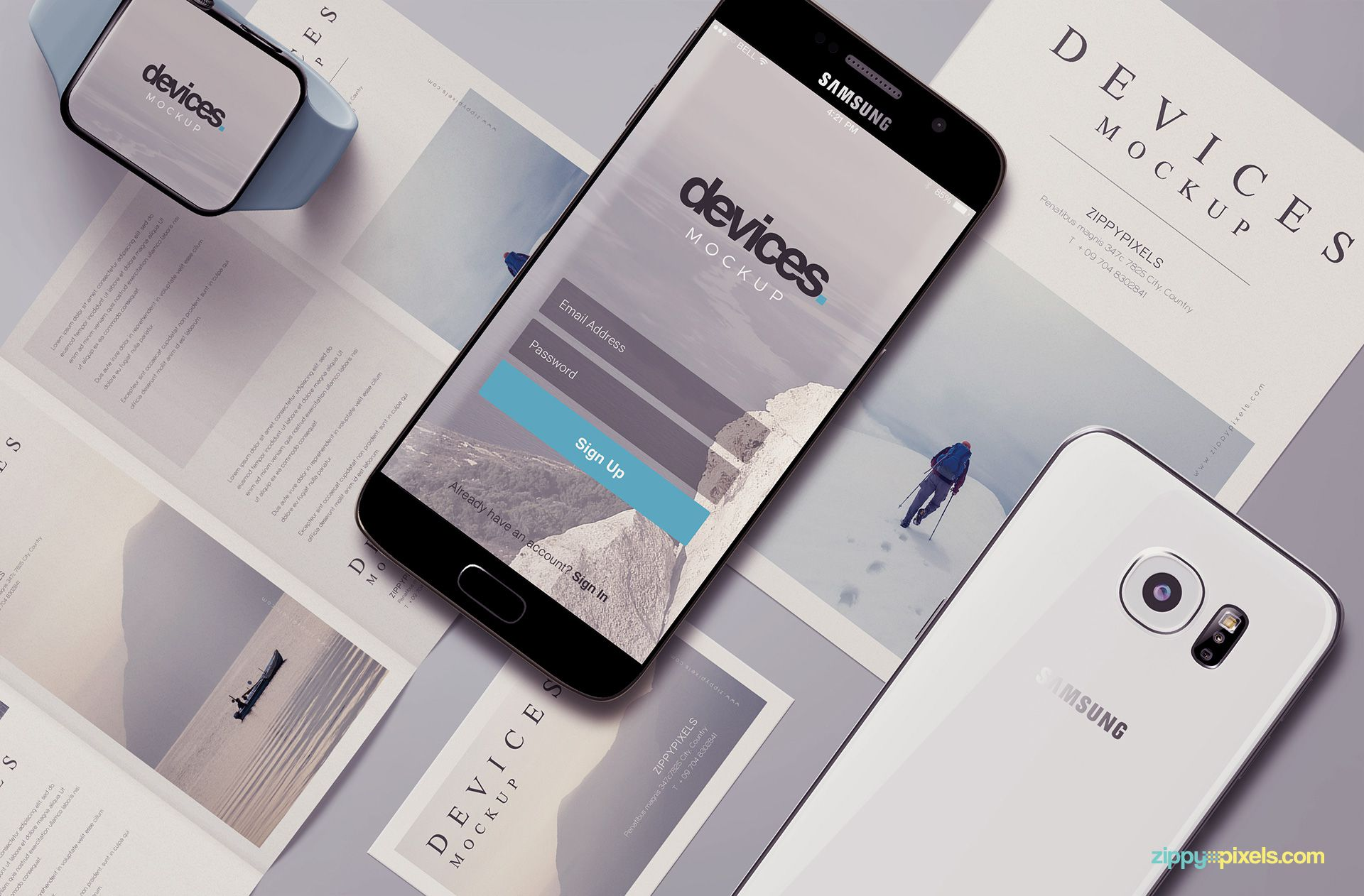 Free android mobile mockup scene.