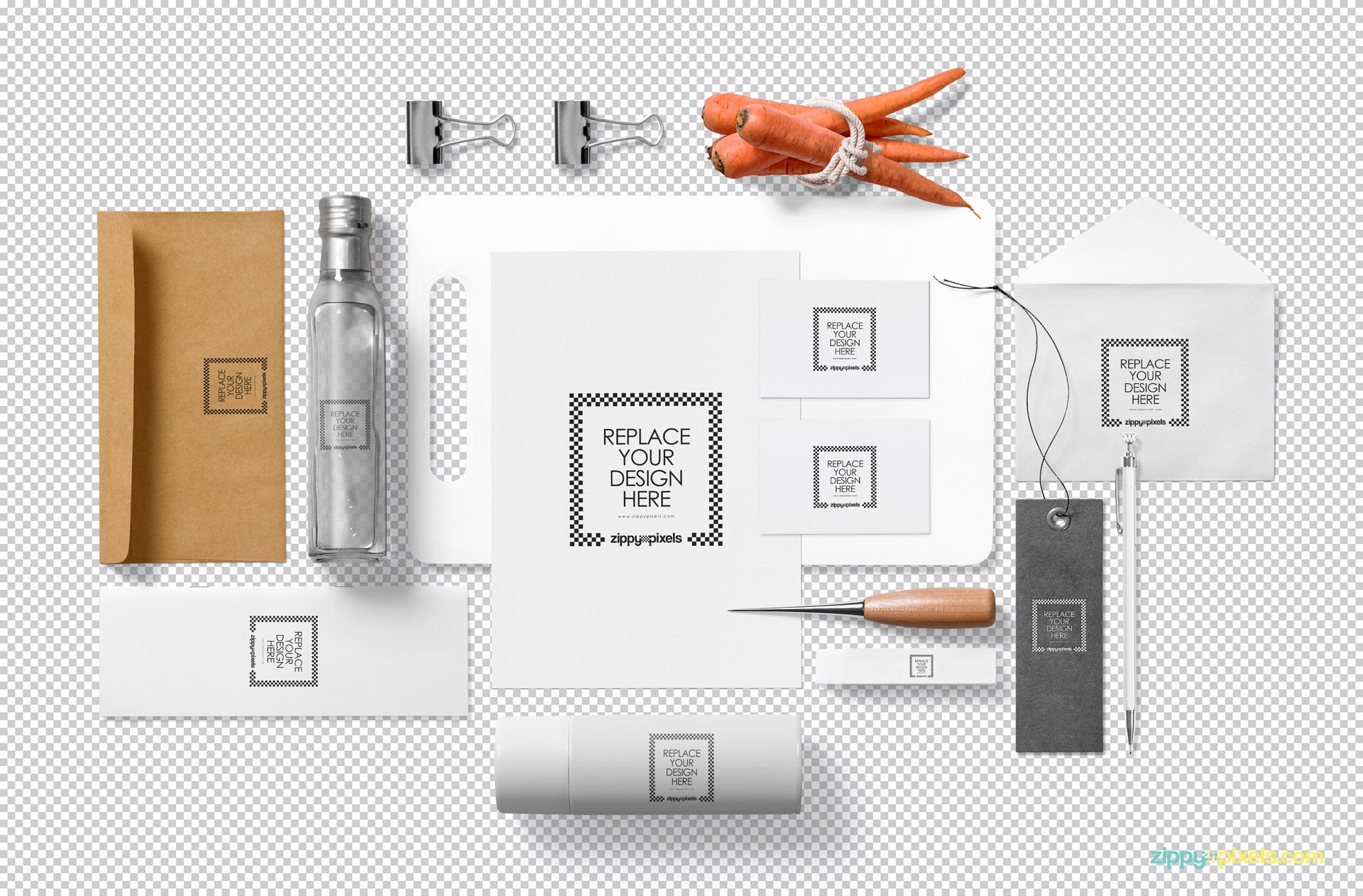 Editable branding mockup PSD showing replaceable design option.
