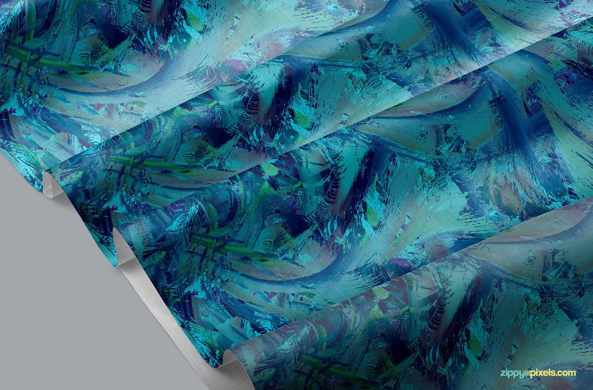 Beautiful fabric mockup free PSD.