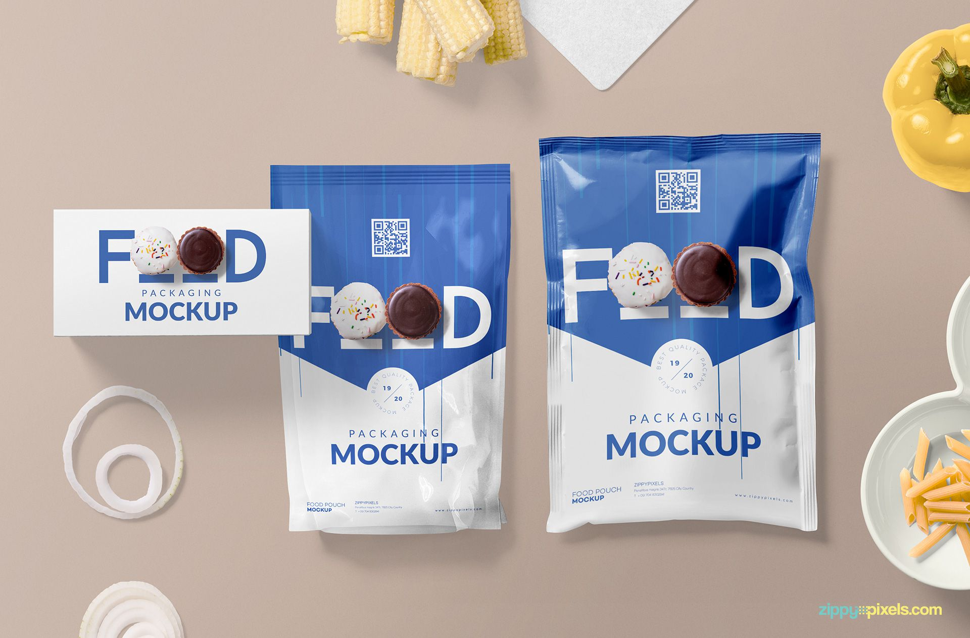Free packaging mockup for food items.