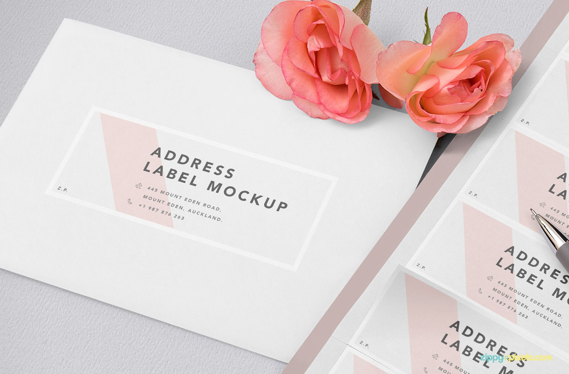 Invitation card mockup with address design option.
