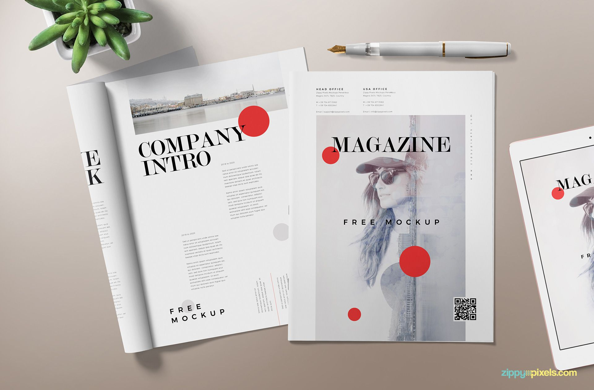 Fully customizable magazine mockup scene.