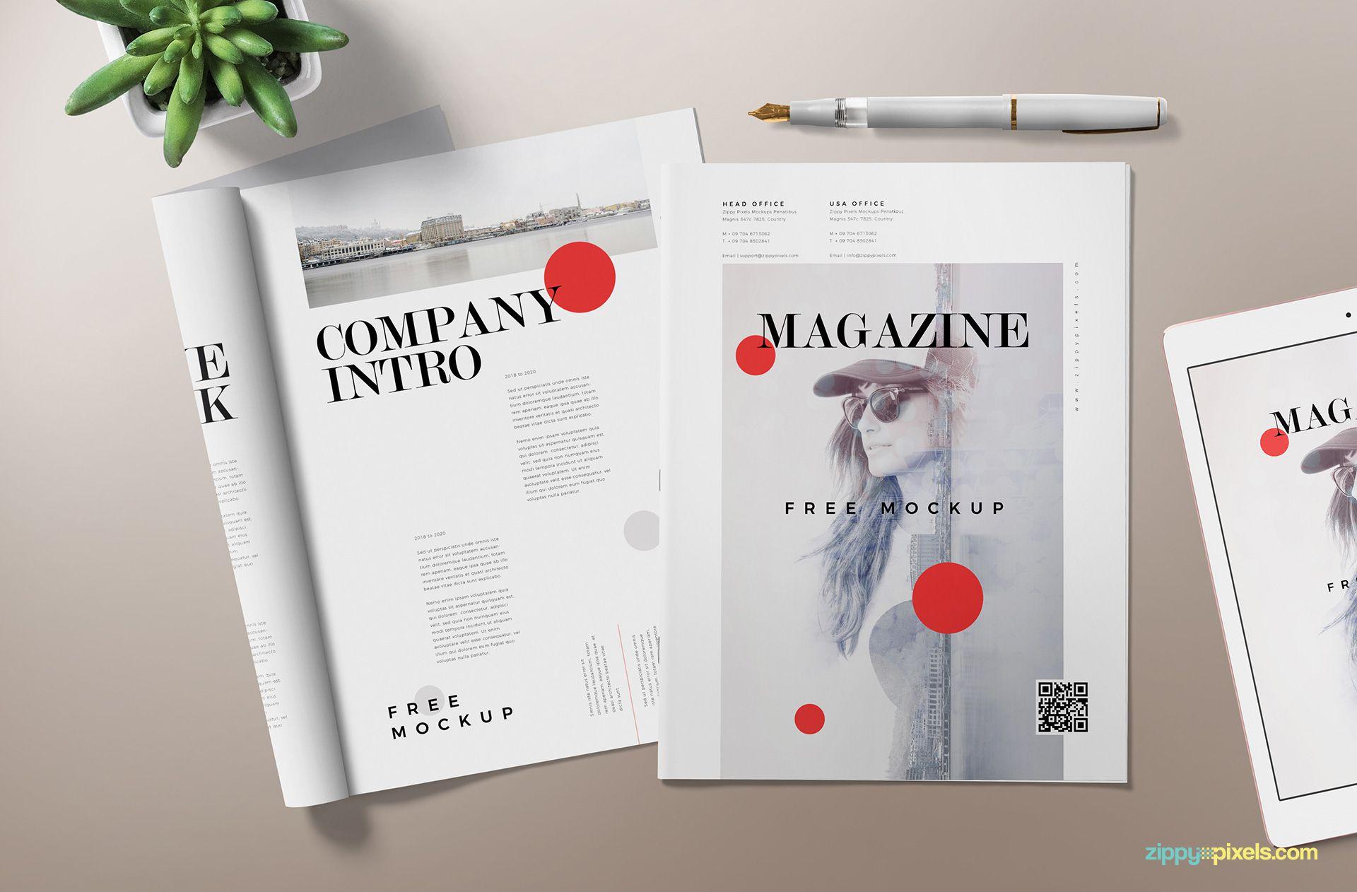 Fully customizable magazine mockup scene.