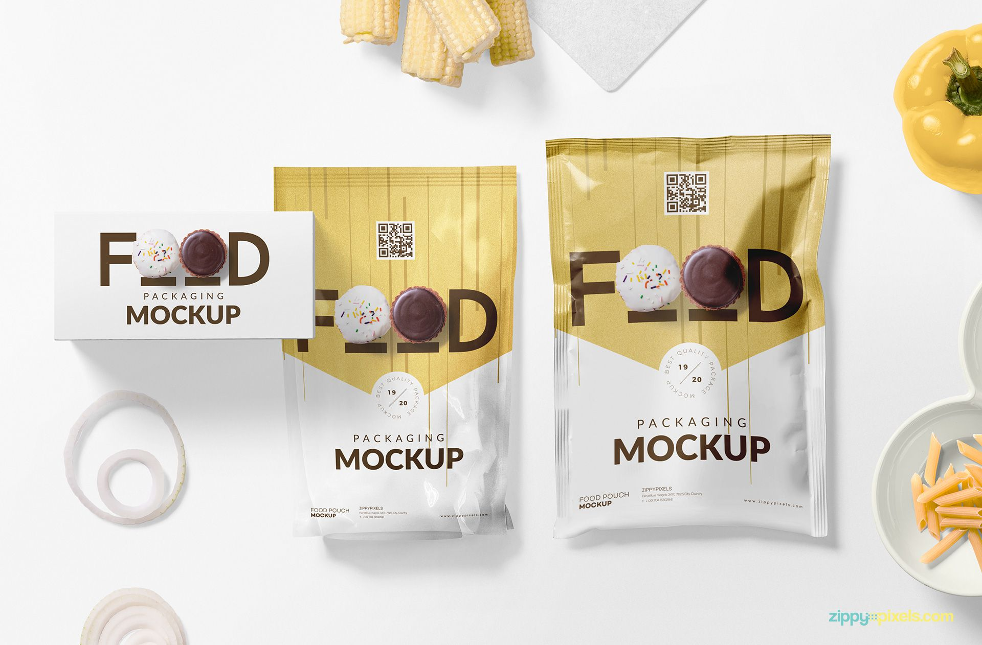 Packet and sachet mockup in one scene.