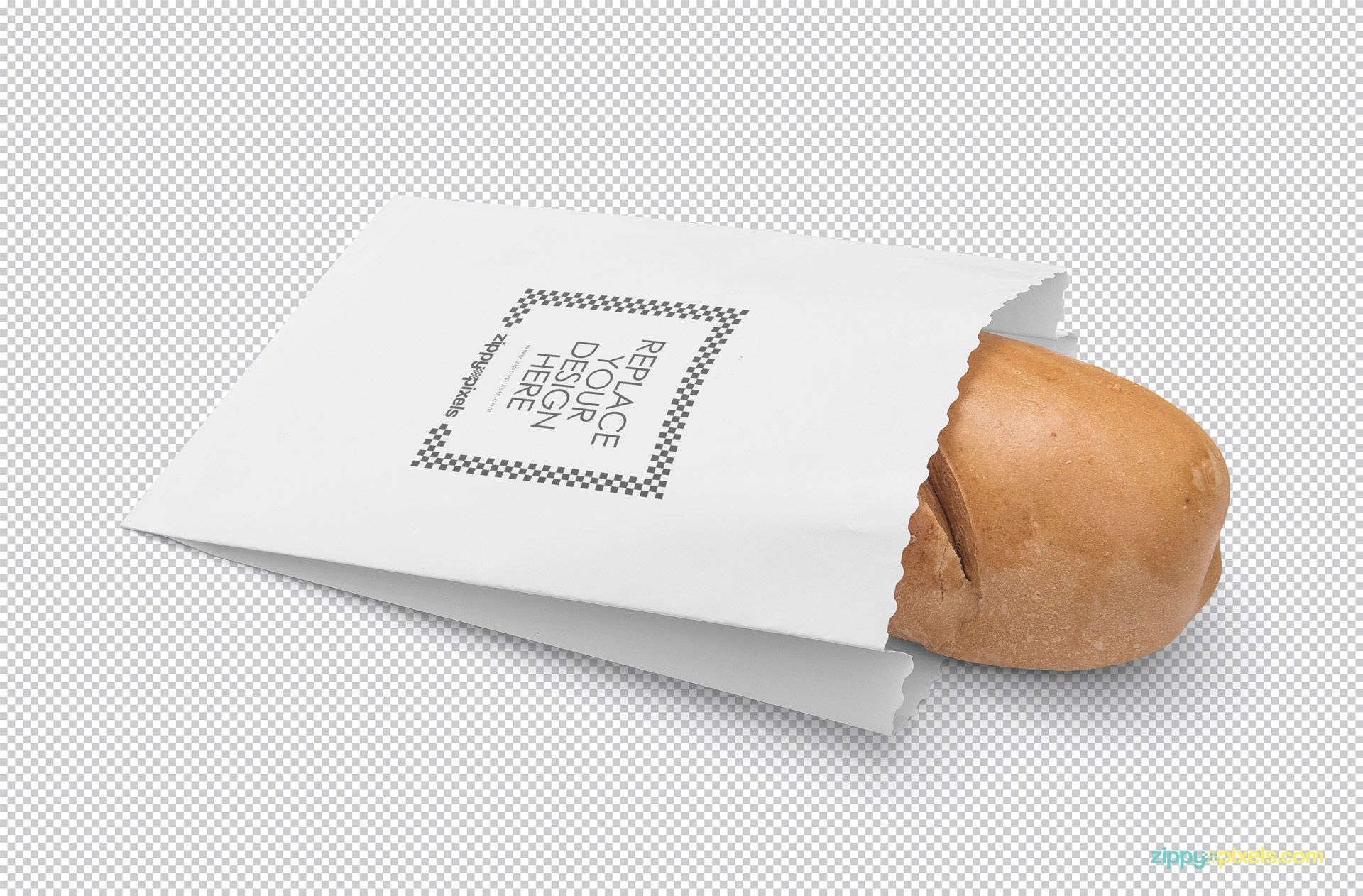 Paper bag mockup with design replacement option.