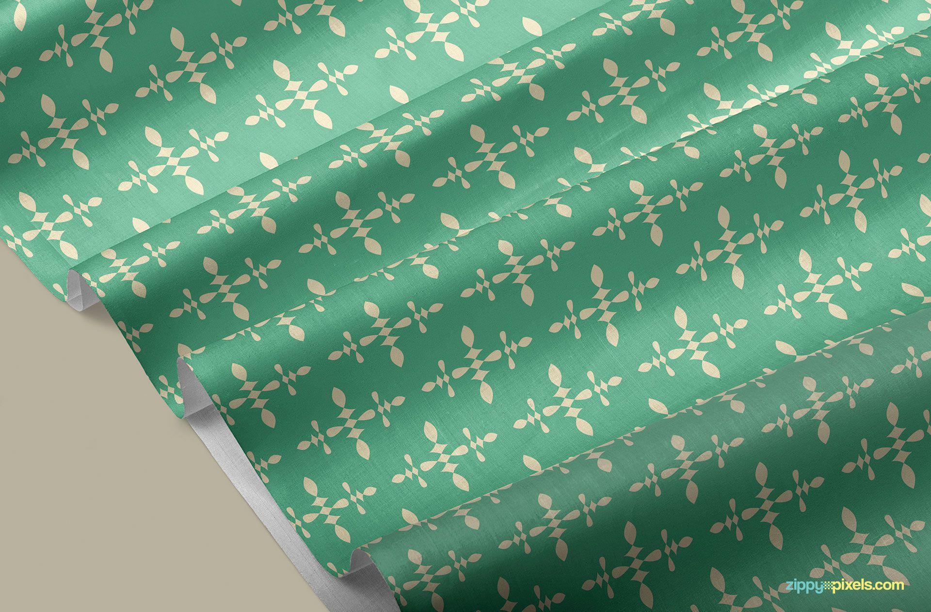 Beautiful pattern on fabric mockup.