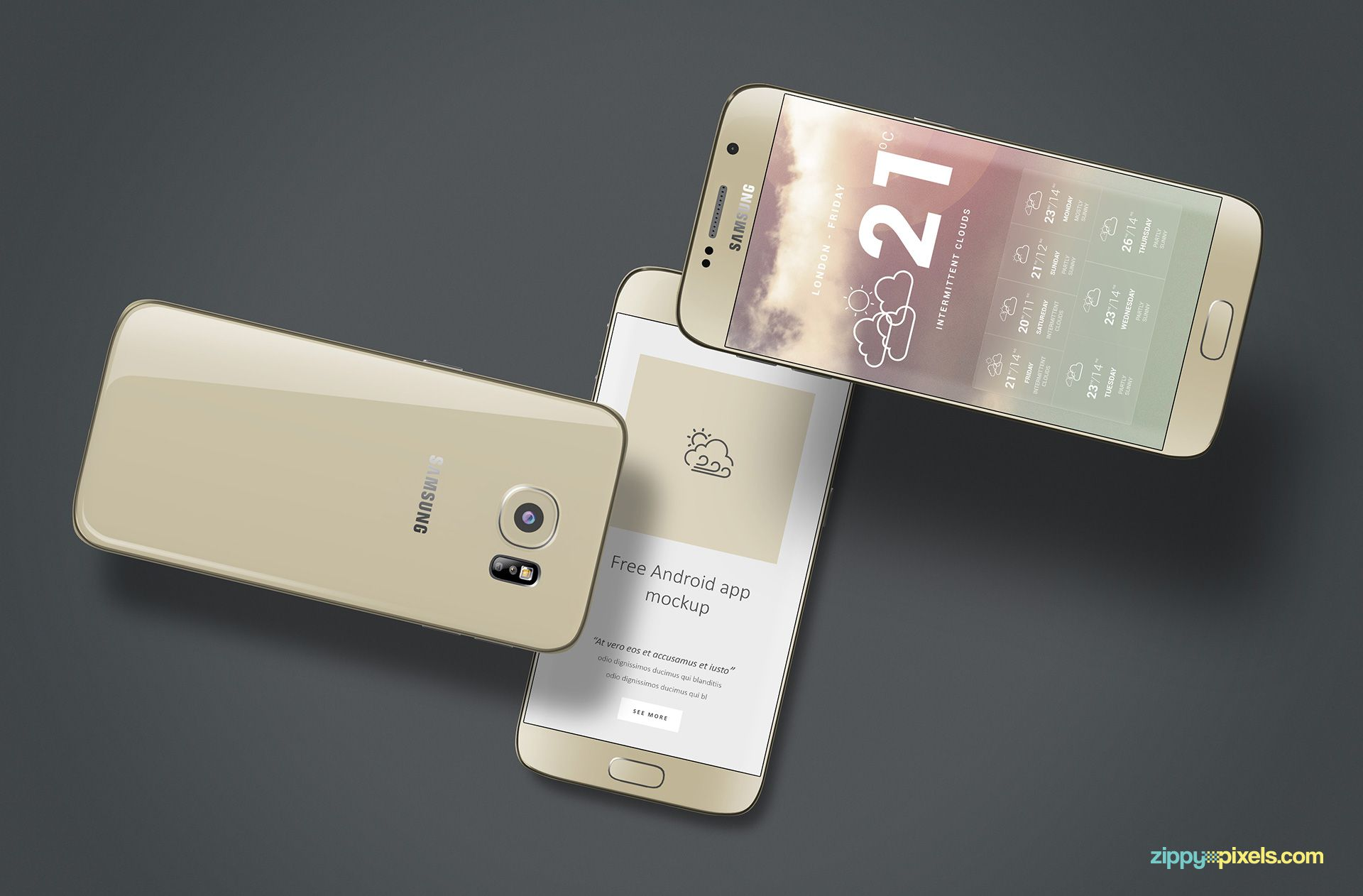 Samsung galaxy S6 mockup in gold.
