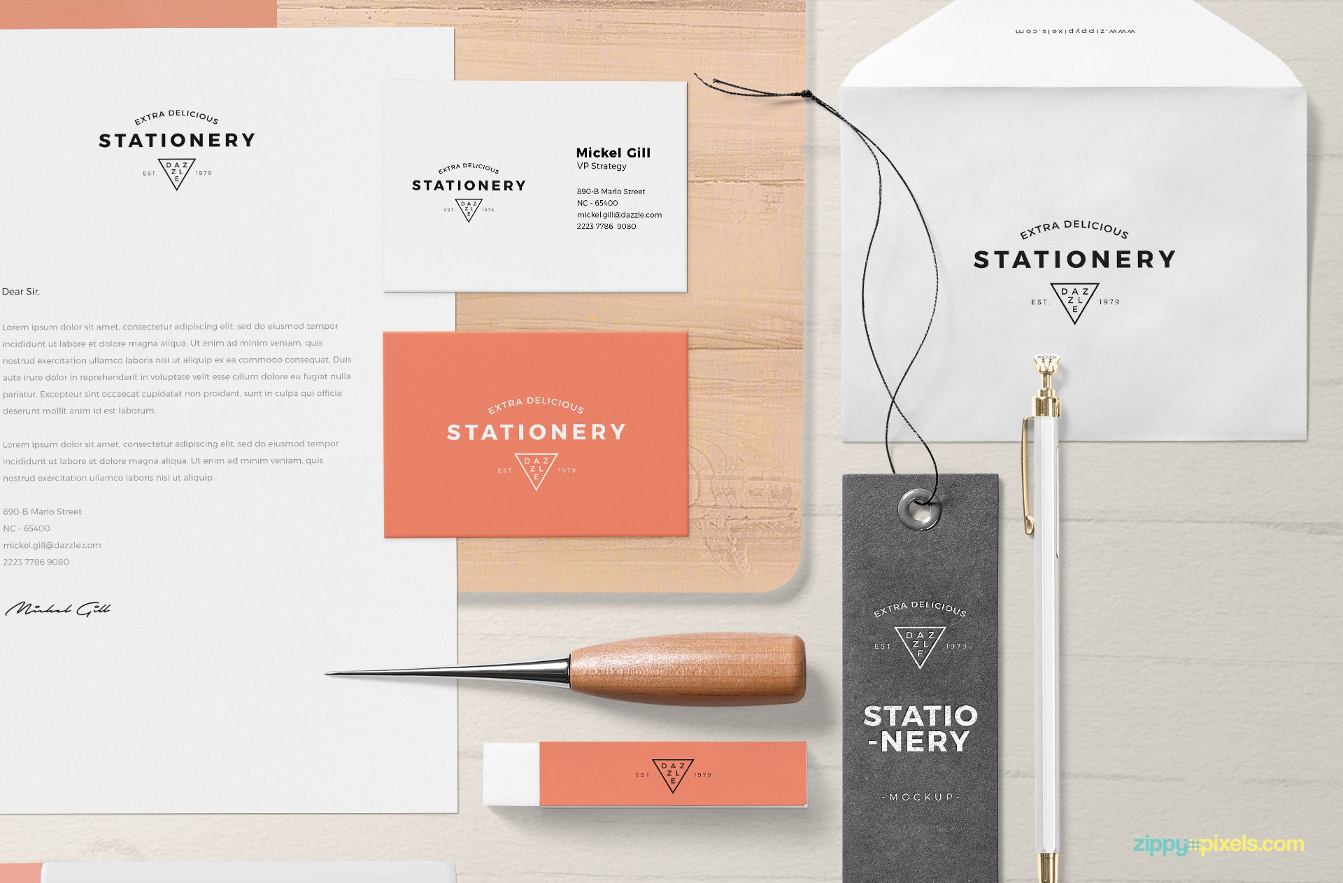 Stationery mockup items.