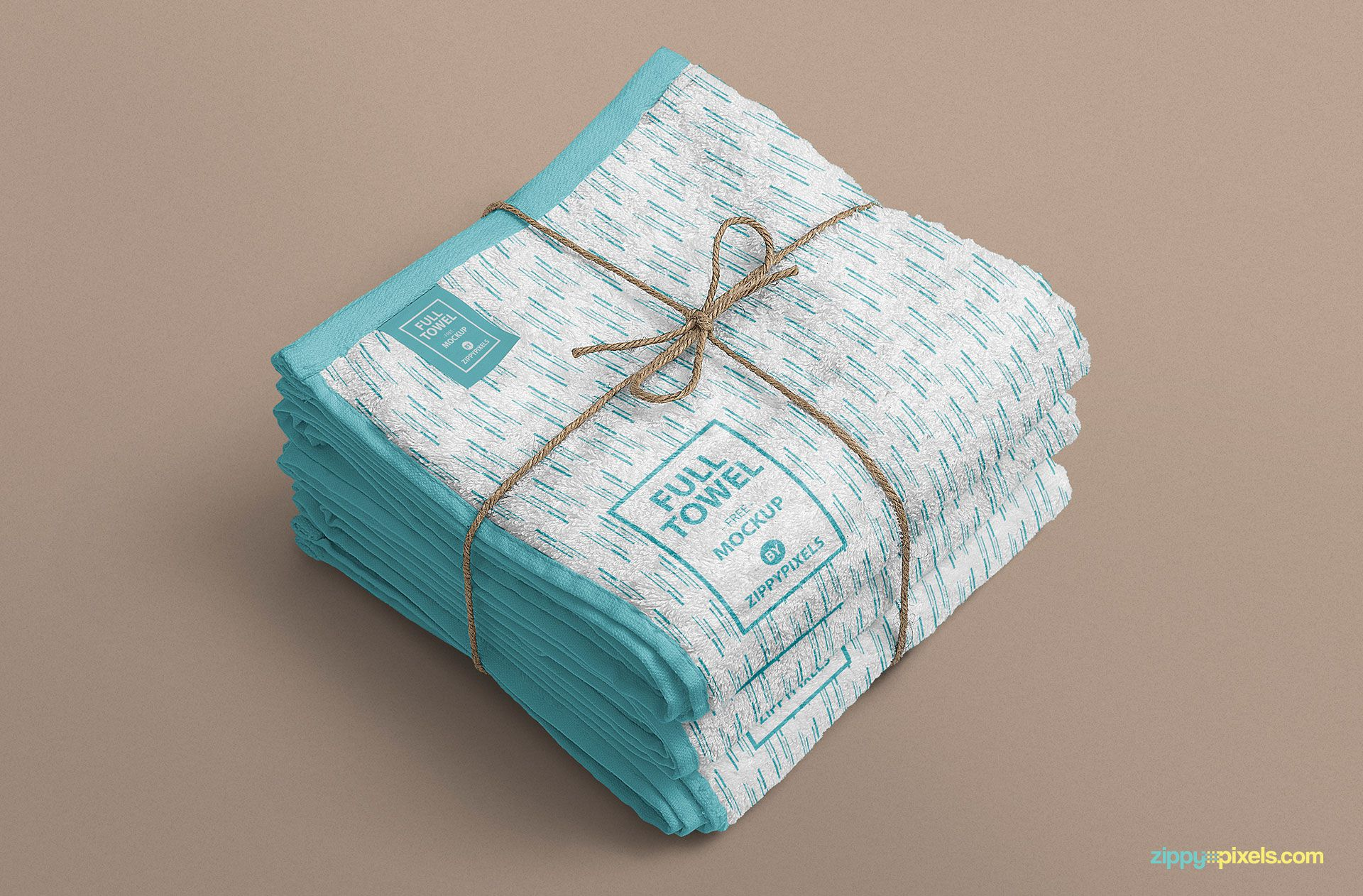 A bundle of three towels mockup.