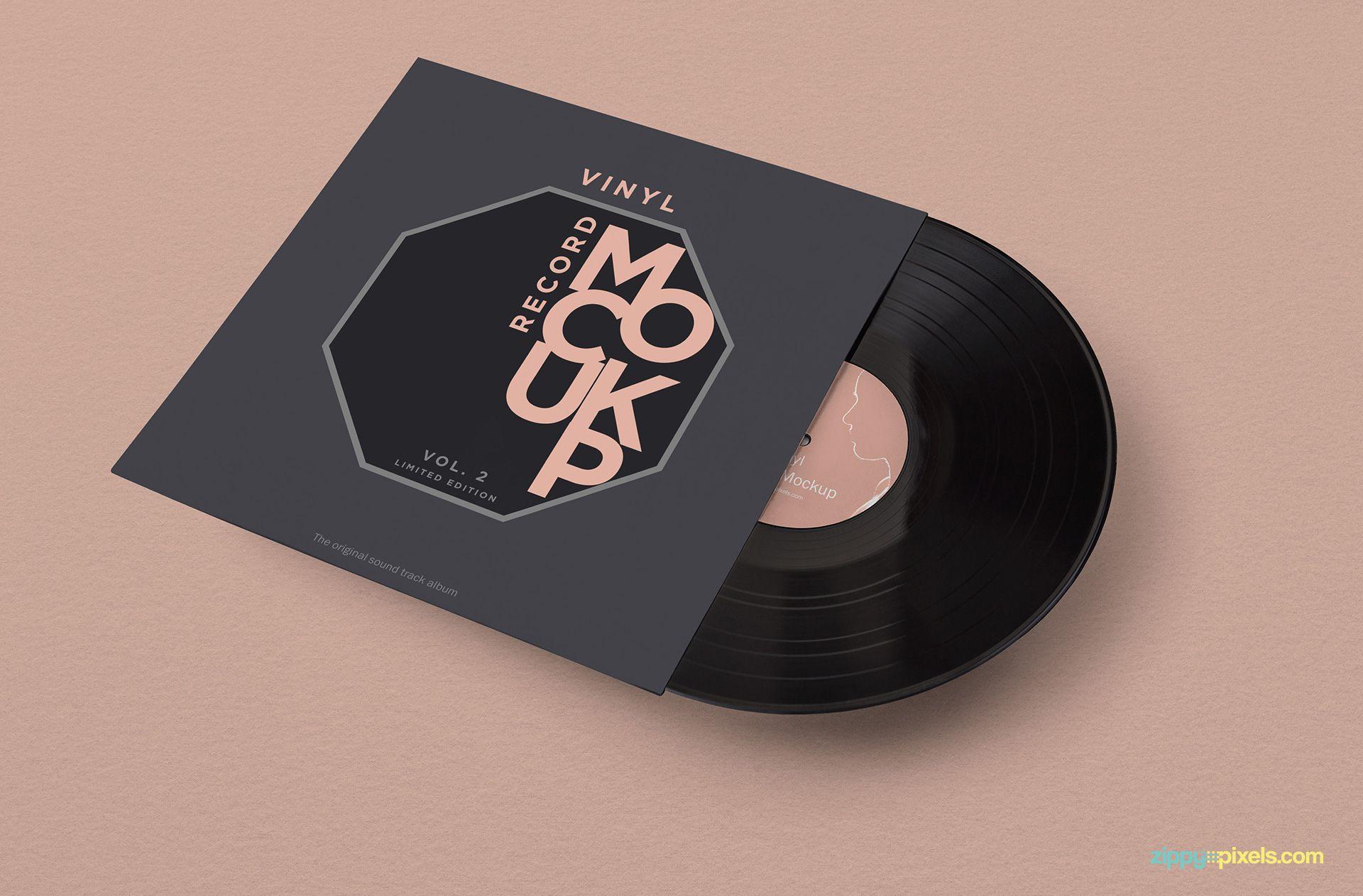 Free vinyl record mockup.