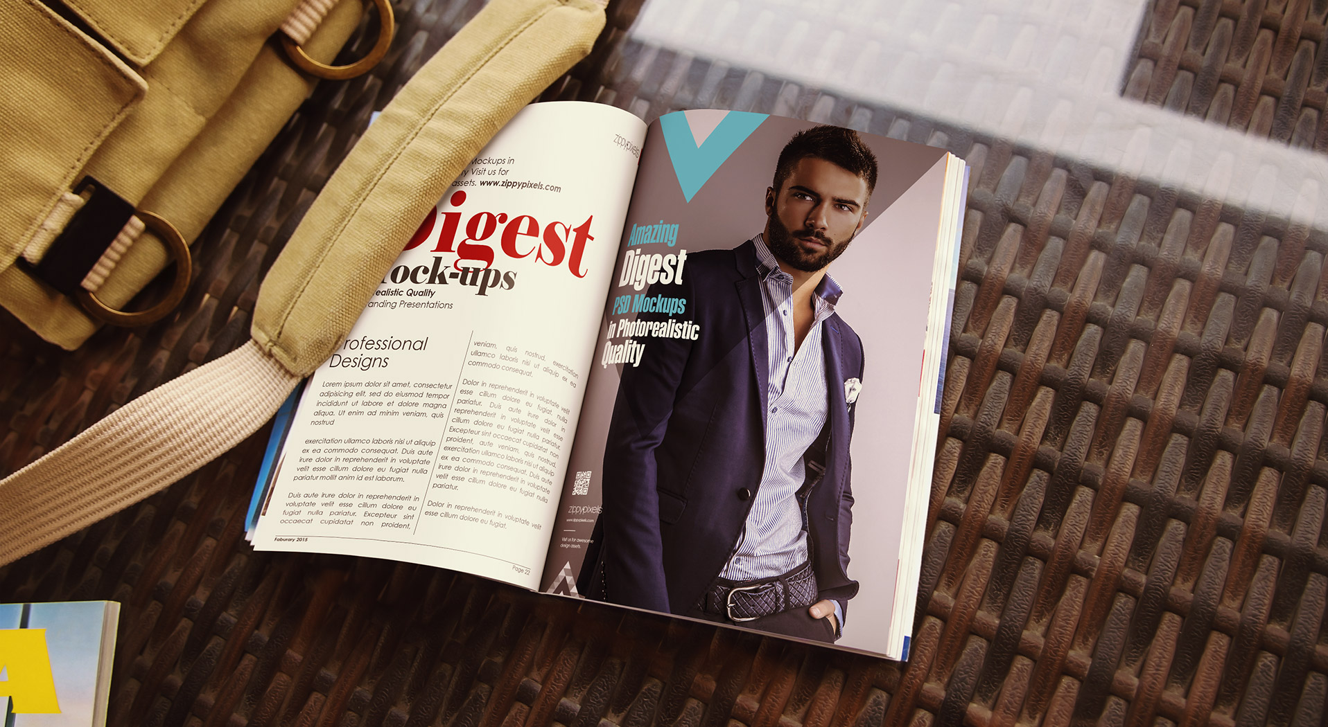 Magazine and Magazine ad mockups