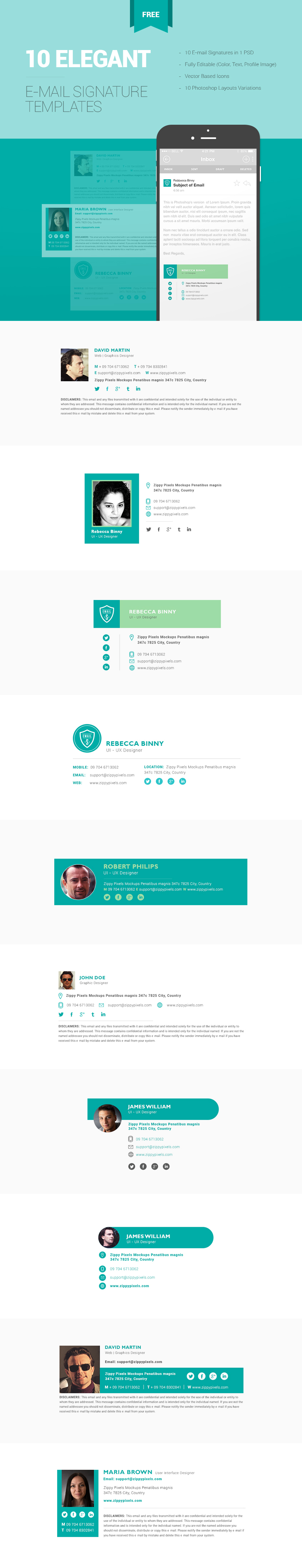 mail designer pro templates - 10 free email signature templates in one psd zippypixels