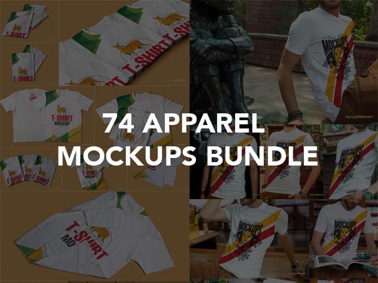 74 APPAREL MOCKUPS BUNDLE graphics