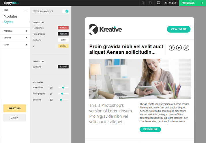 Kreative Free ready for mobiles browsers and desktop