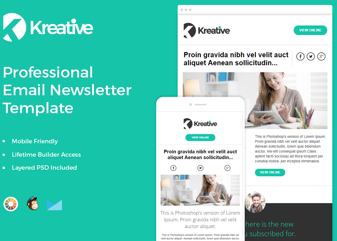 Kreative free newsletter template
