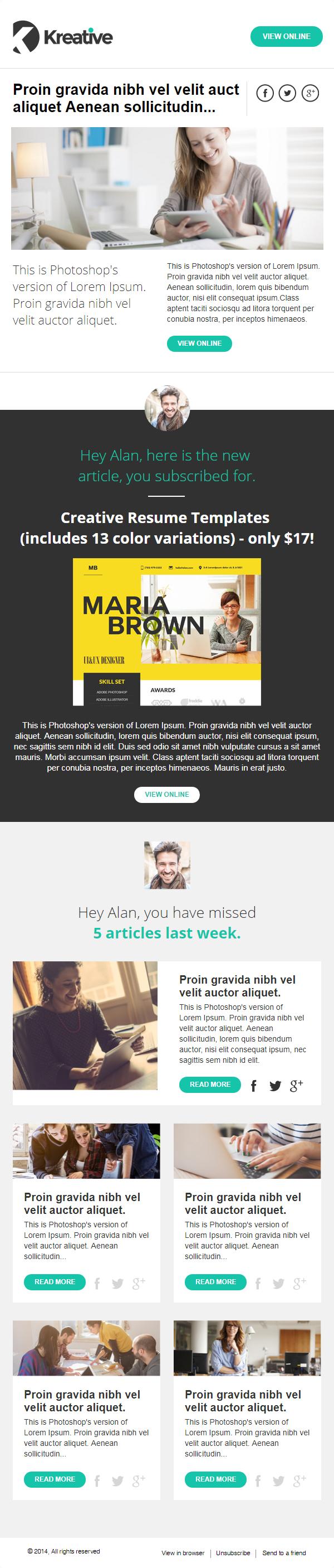Kreative - Free Newsletter Template