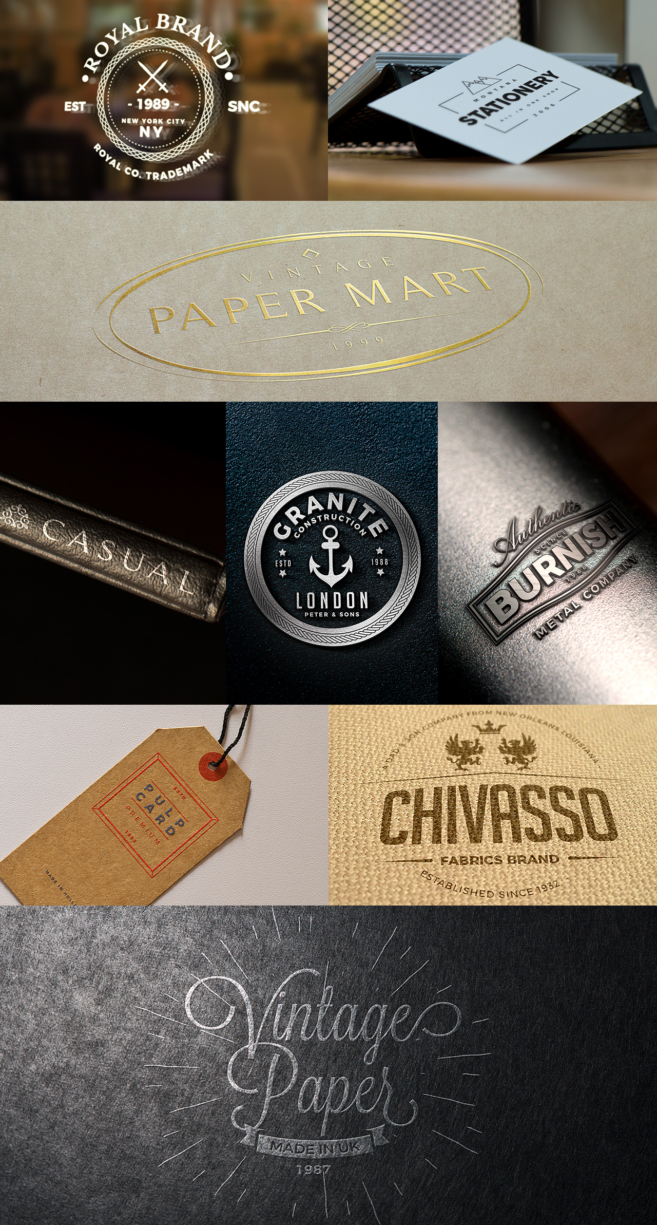 Glass, Business Card, Metal, Tag, Label and Paper Logo Mockups