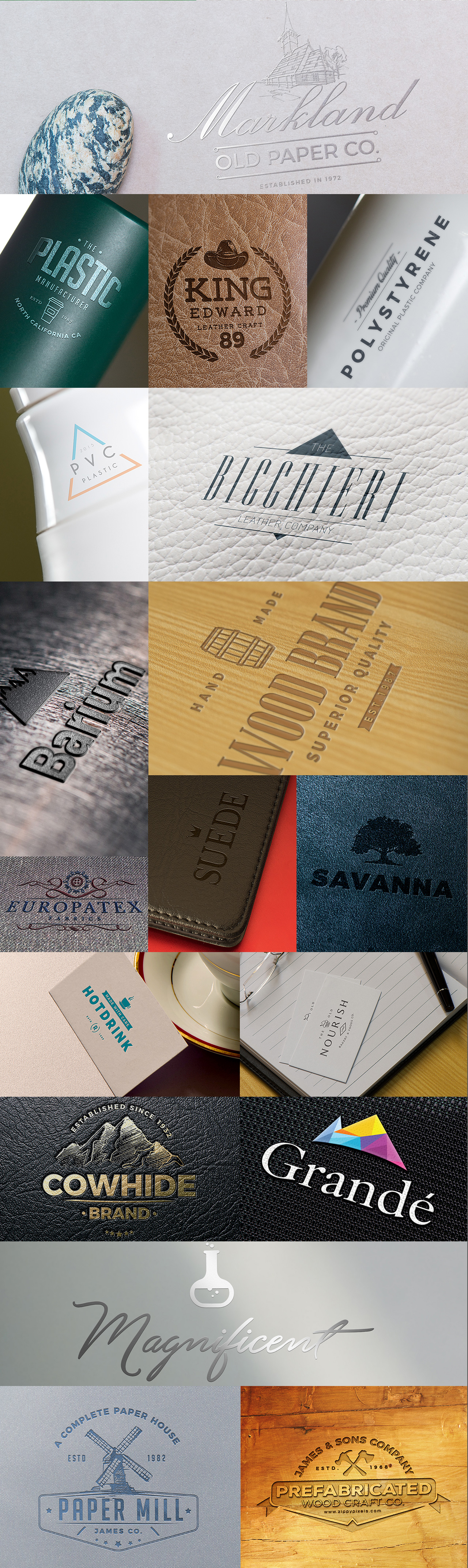 Classic, shining, beautiful Logo Mock-ups on Plastic Bottles, papers, Wood and other Surfaces